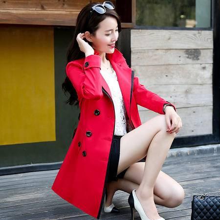 mssefn2015新款秋季韩版女装中长款女士秋装风衣外套YS1083配腰带