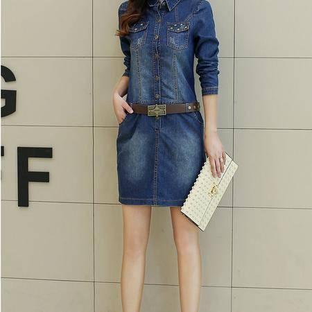 mssefn秋装时尚牛仔连衣裙 YS573P110 配腰带