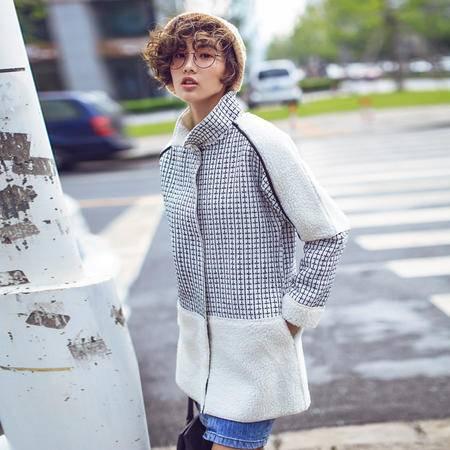 mssefn2015冬装新款女中长款羊羔毛大衣外套加厚显瘦学院风潮YS019