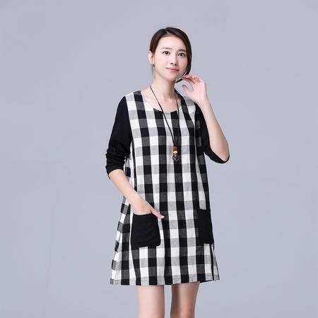 mssefn2015民族风新款秋季宽松复古棉麻连衣裙格子打底裙Y670P100