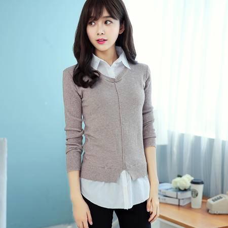 mssefn韩版秋冬新品假两件毛衣针织衫修身显瘦百搭女衬衫潮X1621P70