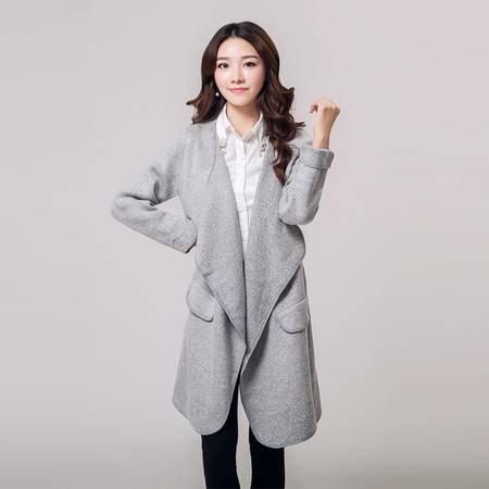 mssefn2015秋季韩版中长款毛针织衫长袖针织开衫外套Y673P105