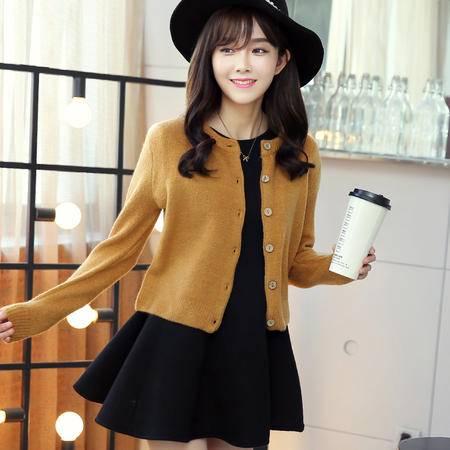 mssefn2015秋冬新品优雅清新短款宽松弹力毛衣圆领开衫小外套潮X1633P85