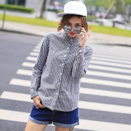 mssefn2015新款竖条纹衬衫潮百搭长袖打底衫立领衬衣女上衣潮YS032