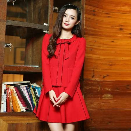 mssefn2015秋季女装新款韩版时尚三件套甜美修身连衣裙82608P180