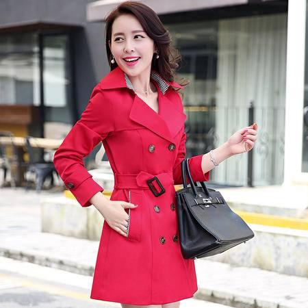 mssefn新款秋季韩版女装中长款女士秋装风衣外套YS1061DP160配腰带