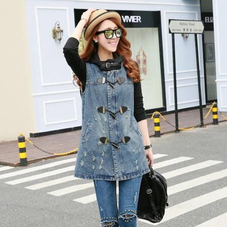 mssefn2015新款秋季韩版女装中长款时尚修身牛仔无袖风衣外套YS7223