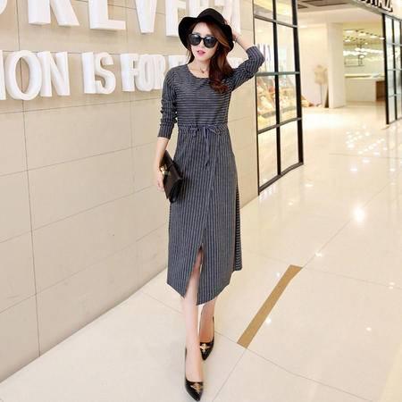 mssefn2015秋季新款中长款条纹修身连衣裙Y659