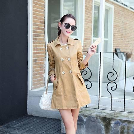 mssefn2015秋季女装新款韩版时尚双排扣中长款修身风衣外套82812