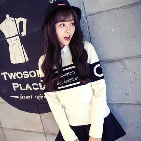 mssefn情侣装 韩版潮流男女撞色字母绣花毛衣针织衫MY5108特女装类目