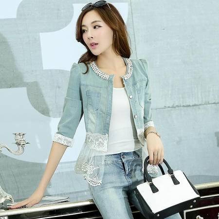 mssefn新款秋季韩版女装时尚修身蕾丝拼接秋装新品牛仔外套YS9942