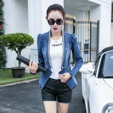 mssefn2015新款秋季韩版女装时尚潮流秋款新品秋装牛仔短外套YS7710