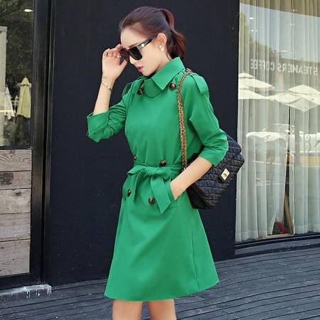 mssefn秋季新款韩版修身中长款风衣女外套Y643