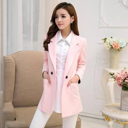 mssefn秋 韩版时尚清新甜美方领拼接口袋纯色修身外套 潮d19