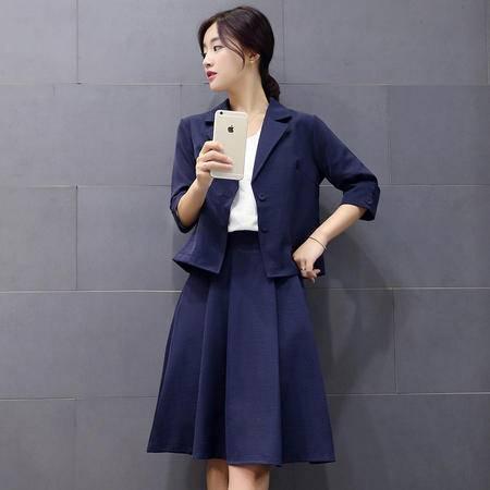 mssefn秋季新款韩版套装短款小西装外套显瘦半身裙两件套女装Y696