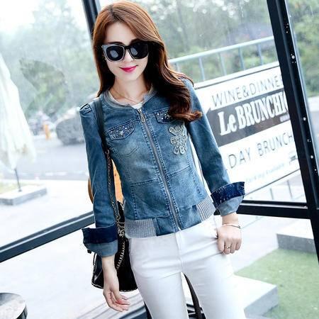 mssefn新款秋季韩版女装时尚修身潮流百搭秋装新品牛仔外套YS5666
