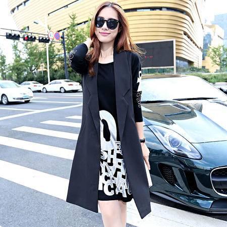 mssefn2015韩版时尚新款秋季中长款无袖马甲外套修身女式风衣H268