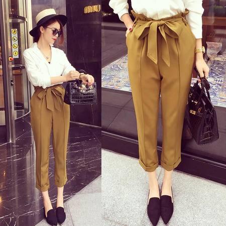 mssefn2015秋装新款简约时尚挺括显瘦系带休闲九分西裤子女6463F60