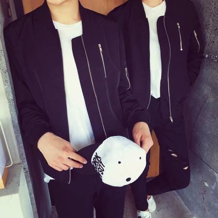 mssefn店主风 2015秋装新款 纯色拉链情侣夹克外套 D821
