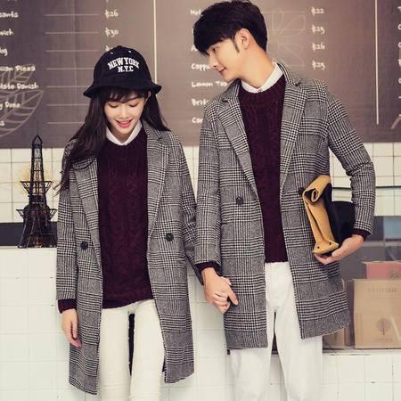 mssefnY709*新品韩版女士情侣风衣呢子大衣格子千鸟格中长款外套