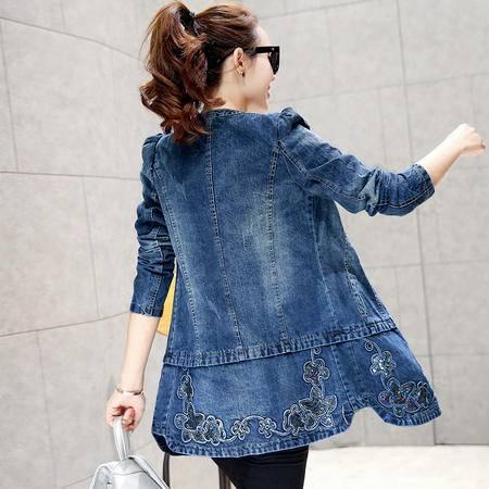 mssefn2015新款秋季韩版女装时尚百搭中长款秋装新品牛仔风衣YS5660