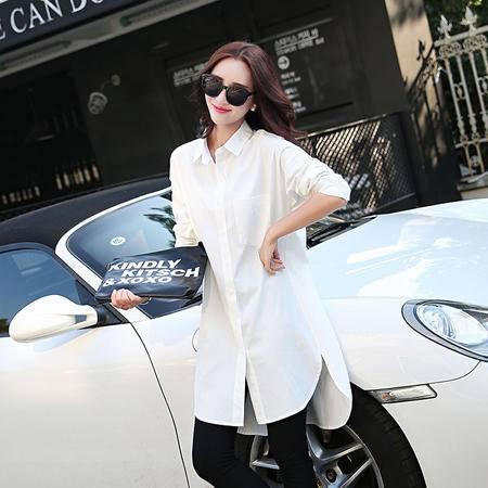 mssefn2015秋季女式衬衫韩版女装长袖中长款宽松白色衬衣时尚YMN9926