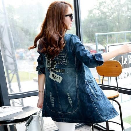 mssefn2015新款秋季韩版女装时尚百搭中长款秋装新品牛仔风衣YS5662