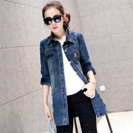 mssefn2015新款秋季韩版女装时尚百搭中长款秋装新品牛仔风衣YS5669