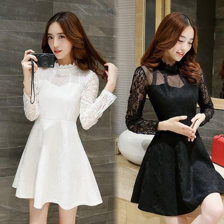 mssefn2015新品女装韩版长袖半高领蕾丝连衣裙甜美优雅公主裙仙H1006