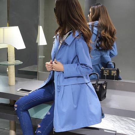 mssefn2015秋季女装新款经典撞色连帽韩版修身中长款气质风衣81914