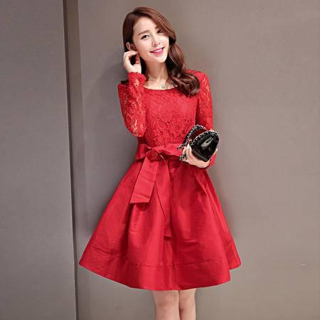 mssefn2015时尚新款秋季韩版小香风长袖蕾丝拼接公主裙连衣裙Y684