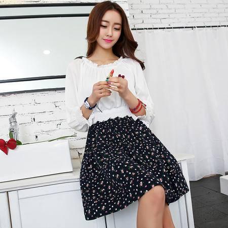 mssefn2015秋女装新款花边领甜美时尚牛奶丝碎花假两件连衣裙82412