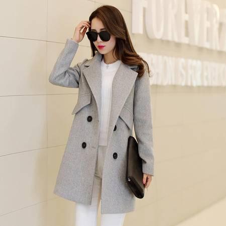 mssefn2015秋冬新款中长款双排扣呢大衣西装领纯色毛呢外套潮XZ048