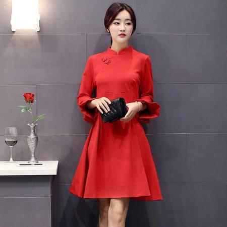 mssefn2015秋季女装新款精致花瓣袖时尚中国风修身连衣裙82212