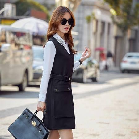 mssefn2015时尚新款无袖背心裙V领马甲裙秋季修身连衣裙A176
