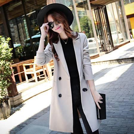 mssefn风衣女外套秋季韩国2015秋装新款女装韩版中长款修身潮Y655