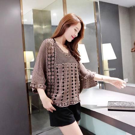 mssefn2015韩版新品宽松秋款蝙蝠袖镂空时尚大码上衣女配吊带Y645