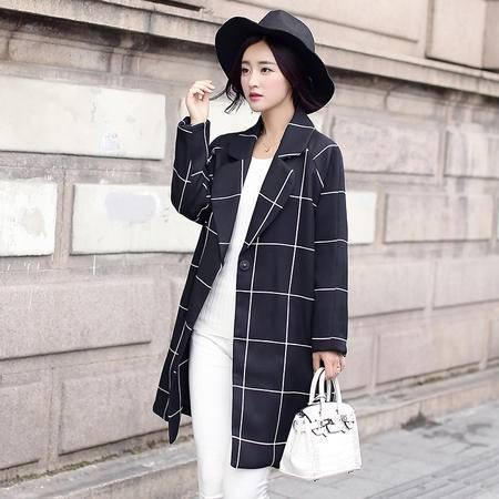 mssefn2015韩版修身中长款风衣秋季新款一粒扣格子外套女装Y69