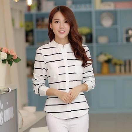 mssefn大货实拍 2015秋季新款女士韩版潮流条纹衬衣 8309A-C679