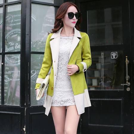 mssefn2015韩版修身中长款风衣秋季新款撞色拼接外套裘皮绒女装Y703