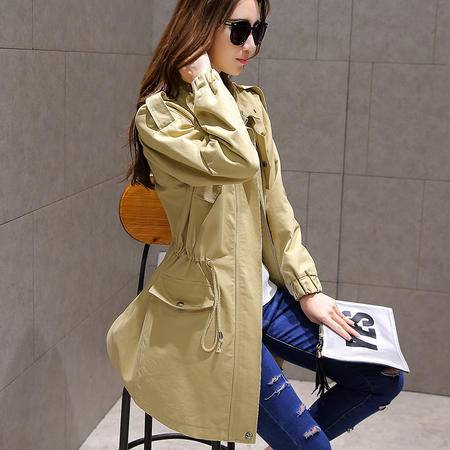 mssefn2015秋季女装新款中长款修身纯色韩版气质风衣外套81915