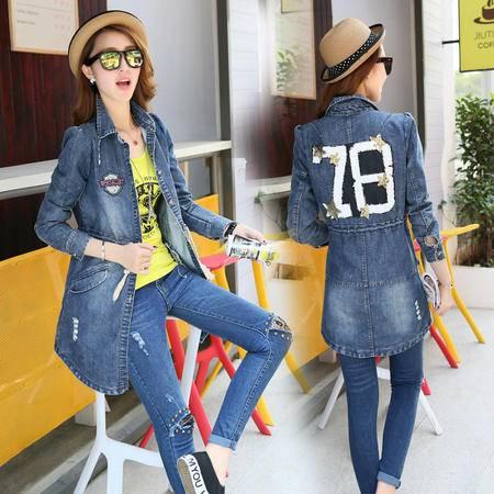 mssefn2015新款秋季韩版女装时尚修身中长款牛仔风衣外套秋装YS7213