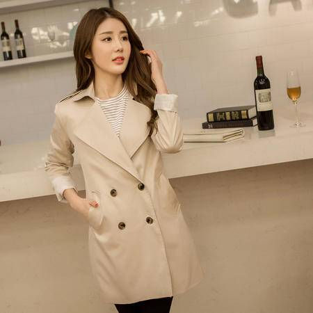 mssefn大货实拍 2015韩版双排扣风衣外套女 8201-F001