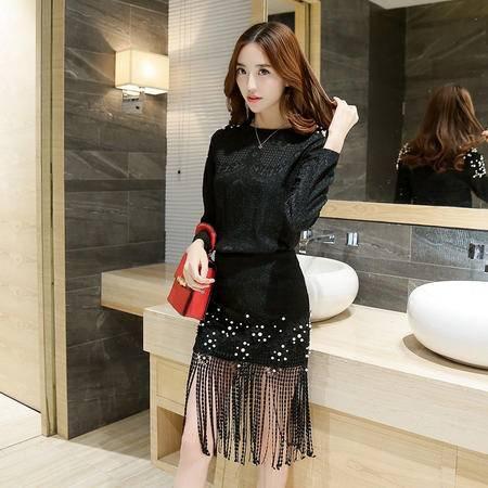 mssefn韩国代购修身蕾丝时尚套装长袖蕾丝衫 包臀流苏裙两件套H1005
