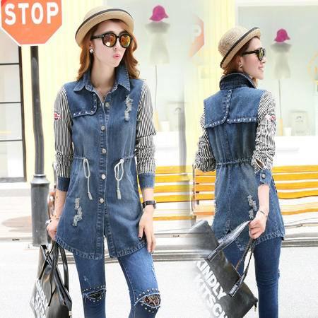 mssefn新款秋季韩版女装中长时尚修身秋装新品牛仔风衣外套YS7219
