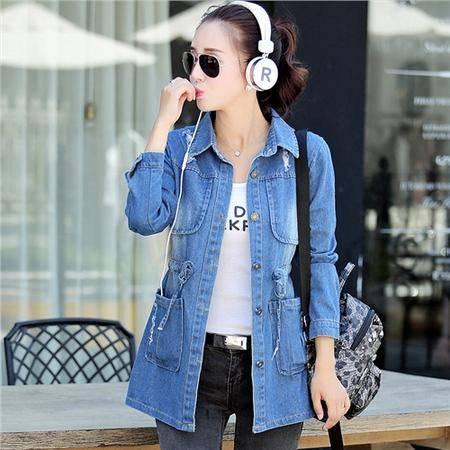 mssefn2015秋季女装新款韩版时尚中长款修身牛仔外套82112