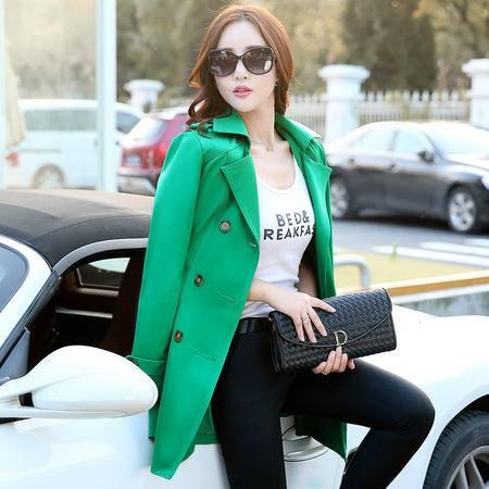 mssefn2015秋冬新款时尚修身中长款风衣韩版双排扣外套Y546