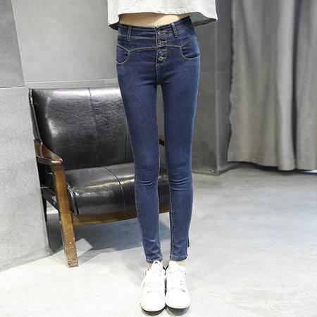 mssefn秋新款深色修身显瘦铅笔裤排扣高腰女小脚牛仔裤长裤C213 9073