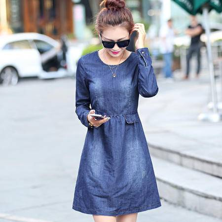 mssefn2015秋季时尚新款韩版女装 牛仔秋装连衣裙YS8609
