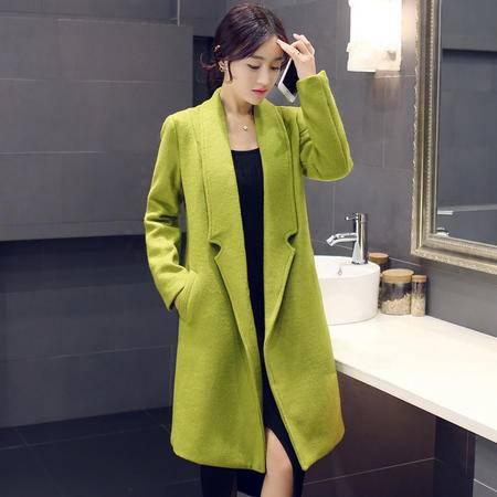 mssefn2015秋冬季新款韩版中长款毛呢外套Y563
